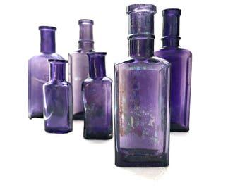 Authentic Antique Bottle Collection 6 Rustic Purple Bottles Purple Apothecary Medicine Bottles Lavender Wedding Bottle Vases