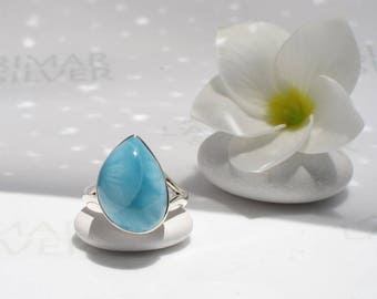 Larimar ring size 8.5 by Larimarandsilver, My Blue Bubble - aqua blue Larimar pear, blue drop ring, blue topaz ring, water drop, siren ring