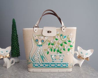 1970s Bird Watcher Jeweled Kitty Cat canvas purse tote bag ...Enid Collins of Texas handbag