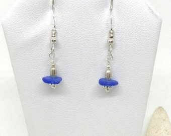 Sea Glass Earrings, RARE Cobalt Blue Glass Earrings, Sea Glass Jewelry, Seaglass, Sea Glass,  Beach Earrings, Gift Under 30