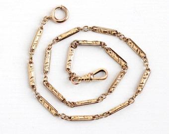 Sale - Vintage Rosy Yellow Gold Filled Pocket Watch Chain - Antique 1910s Edwardian Choker Necklace Bracelet Panel Swivel Clip HFB Jewelry