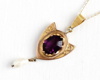 Sale - Antique Lavalier Necklace - Art Nouveau Gold Tone Pendant - Early 1900s Edwardian Simulated Amethyst & Baroque Pearl Shield Jewelry