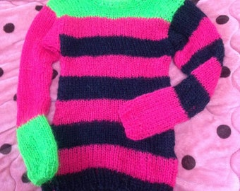 Mohair sweater by camdenlock clothing punk rock new colors black pink green stripe handmade knitting unisex