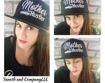 Mother Hustler Black and Silver Glitter Trucker Hat,Mother Hustler Trucker Hat with SUV detail,SUV MAMA Hat,Mother Hustler truck hat