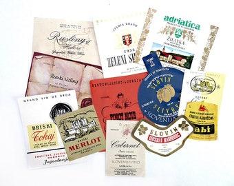 12 Slavic Wine Labels, Slovenia, Yugoslavia