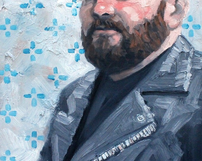 Angry Chubster in a Biker Jacket, oil on canvas panel, 18x24 inches by Kenney Mencher