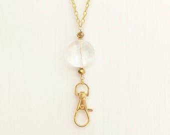Gold Lanyard, Clear Lanyard Crystal, Gold Necklace Lanyard, Gold ID Badge Holder, Gold Clear Lanyard, Gold Key Chain Lanyard Fashion Lanyard