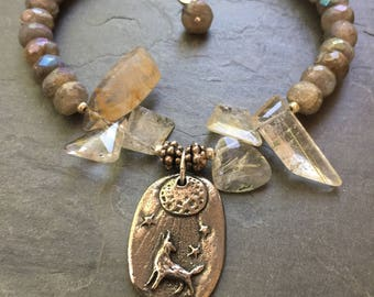 Labradorite and Rutilated quart WOLF and MOON bracelet