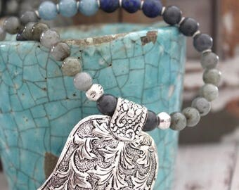 BLUE OMBRE-Antique silver Hamsa palm hand amulet Bohemian beaded layering necklace Ethnic Good Luck Moroccan inspired designed by Inali