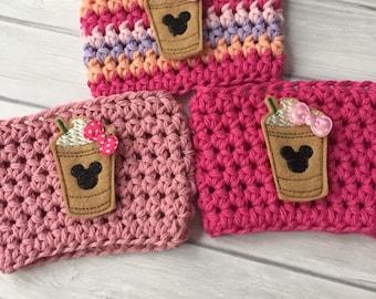 Drink cozy, cup cozy, coffee cup cozy, crochet cup cozy, coffee cup sleeve, planner accessories, planner cup, mouse coffee, coffee felties