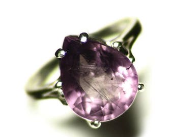 Pink Amethyst Ring Size 6 1/2 (5.4 ct) Teardrop Ring Silver, Pear Ring Rose Gem, Solitaire Ring, Purple Amethyst Pear, Sterling Ring For Her