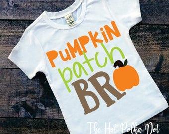 Boys Fall Shirt, Pumpkin Patch Bro,  Pumpkin Patch Short Sleeve White Shirt, Infant Toddler Youth Boy Holiday Shirts