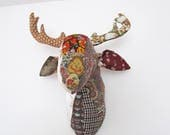 Ready to Ship! Deer Trophy Head/ Deer Faux Taxidermy /wall mount Deer head- Brown / Beige  Fabrics Patchwork