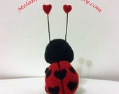Felted Lady Bug Holding Heart