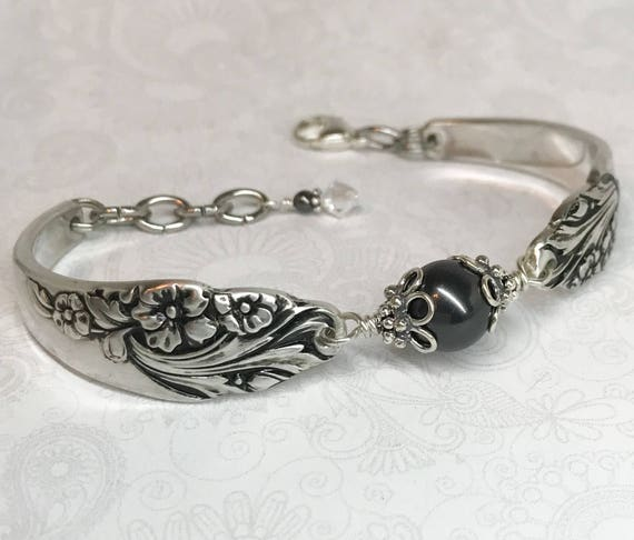 Spoon Bracelet with Black Crystal Pearl, Silverware Jewelry, 'Evening Star' 1950