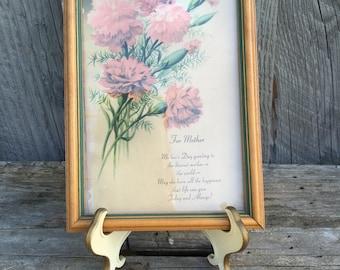 Vintage Mother's Day Verse, Framed, 1940s framed verse