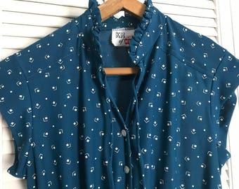 Vintage KR of NY Teal Cap Sleeve Dress