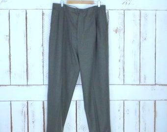 Vintage 90s army green Chaps Ralph Lauren pleated wool trouser pants/green wool cuffed slacks/42 x 32