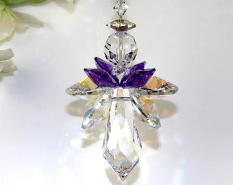 Angel Suncatcher mw Swarovski® Crystal LARGE Purple & Aurora Borealis Quadruple Winged Guardian Angel Car Charm Ornament/ You can pick color