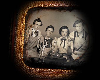 Incredible Occupational Daguerreotype 1850s Workers w Wrench Tools Weaving Shuttle Etc