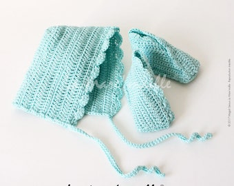 All booties and hat bonnet baby crochet turquoise cotton the Mare' mesh