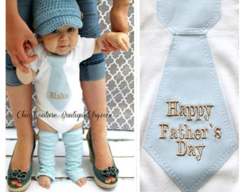 Happy Father's Day Baby Boy Personalized Gift Tie Bodysuit and Baby Blue Leg Warmers SET Newborn Coming Home Outfit New Dad New Baby Outfit