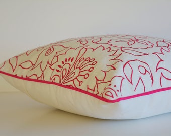 Fuchsia Pink Embroidery on 100% Cotton Canvas Pillow Cover , Pink Embroidered Cushion Cover , Pink Floral Embroidered Cotton Pillow Cover