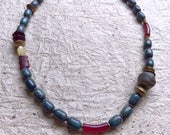 DARAZEINE  - stately strand of lapis,carved agate, jade and artisan beads