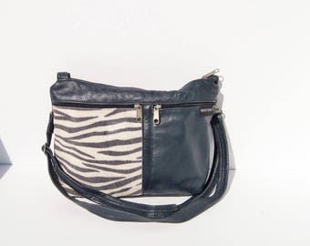 Navy Blue Zebra or Tiger Stripe Genuine Leather Medium Purse
