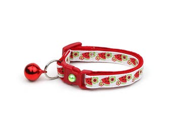 Fruit Cat Collar - Watermelons and Flowers - Small Cat / Kitten Size or Large Size