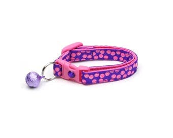 Polka Dot Cat Collar - Pink Dots on Purple - Breakaway Cat Collar - Kitten or Large size