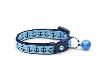 Nautical Cat Collar - Navy Blue Anchors on Light Blue - Kitten or Large Size