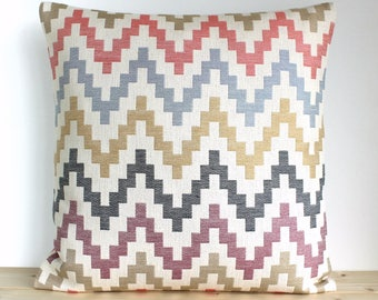 Zigzag pillow cover, Heavyweight pillow sham, Scandinavian pillow cover, Zigzag Cushion Cover, Accent Pillow - Scandi Zigzag Dusky Blue