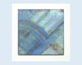 Small abstract art painting, soft blue tones, original textured wood art, 8 x 8 Inches,