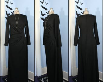Vintage 1970s Womens Witchy Black Maxi Dress Modern Size Small Medium Vintage Goth Retro Disco