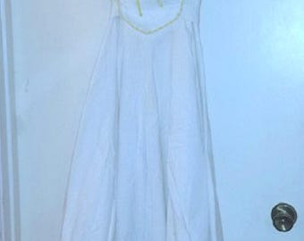 Vintage Handmade White Cotton Lace Wedding or Reception or Shower Dress (includes shipping in the US)