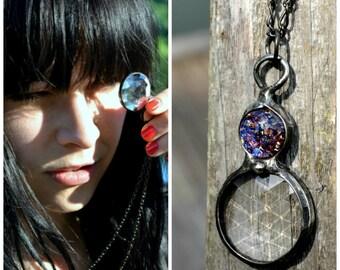 Kaleidoscope Necklace, Glass Jewelry, Long Necklace with Pendant, Handmade Kaleidoscope, Women's Jewelry, Bayou Glass Arts Jewelry (2772)