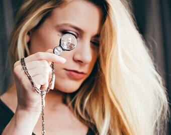 Kaleidoscope Necklace, Glass Crystal Necklace, Funky Jewelry, Fun Jewelry, Kaleidoscope Jewelry, Long Necklace, Artisan Jewelry (2776)