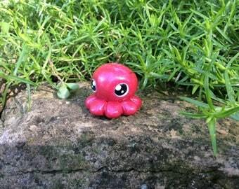 Polymer Clay Figurine, Red Fuschia Octopus