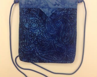 "Blue Batik Paisley Quilted Snap Bag Purse Handbag Handmade 8"" x 8-1/2"""