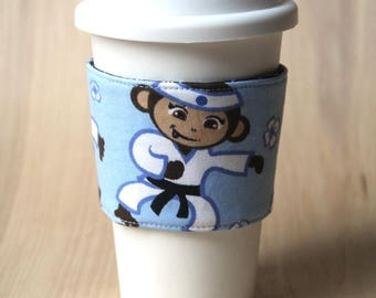 Reversible Coffee Cozy, Coffee Cup Sleeve - Karate Monkey - Ready to Ship