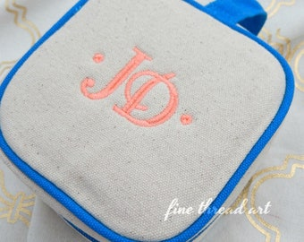Canvas Jewelry Holder Bag with Turquoise Trim Clear Pockets for Travel Honeymoon Bride Bachelorette Party Embroidered Monogram Personalized