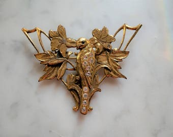 Bird with Flowers Brooch