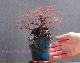 Wire Tree metal sculpture, Winds of Wisdom Ancient Tree, deep blue spectrolite, Madagascar natural Labradorite stone, crowsfeathers art