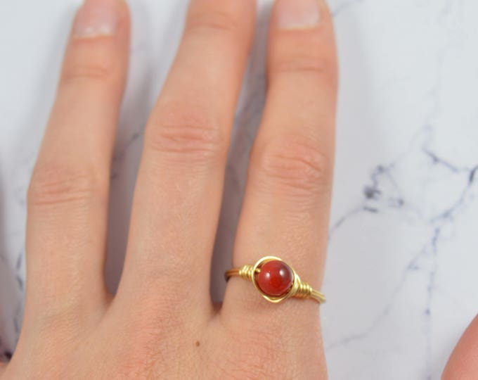 Coral Statement Ring, Rose Gold Coral Ring, 14k Gold Fill or Sterling, Wire Wrap Ring, Gemstone Jewelry, Stacking Ring