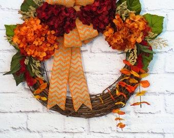 Fall Hydrangea Wreath, Fall Wreath, Fall Decor, Autumn Wreath, Autumn Decor, Fall Grapevine, Hydrangea Wreath