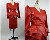 80s Vintage Suit RED Leather Look Polyester Strong Shoulder Fitted Waist Peplum Peg Skirt Size Medium Powerful Woman