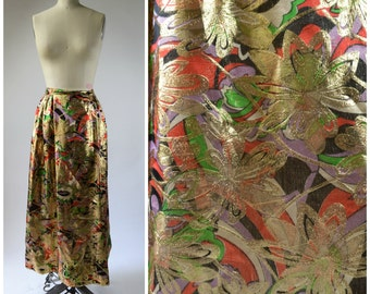 """1960s Hostess Skirt Psychedelic Skirt Purple and Orange Sheer Brocade with Gold Metallic Flowers Very Bright and Shiny 28"""" Waist"""