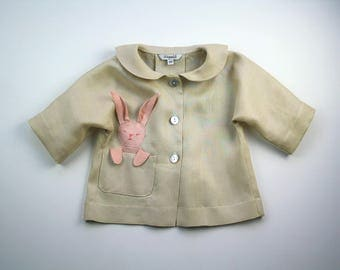 Little Bunny Blouse// Bunny in my Pocket Top// Baby Girl Linen Bunny Jacket// Handmade Girl's Clothing// Girl's Summer Top
