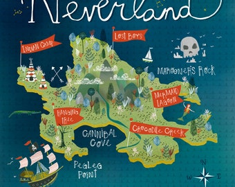 Neverland Map Print